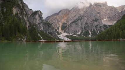 Wall Mural - Pragser Wildsee Braies Lake in the Prags Dolomites
