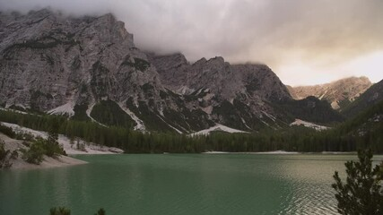 Wall Mural - Braies Lake in the Prags Dolomites in South Tyrol, Italy. Cloudy Summer Scenery