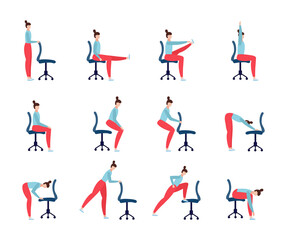 Set of yoga exercises with office chair a vector flat illustrations