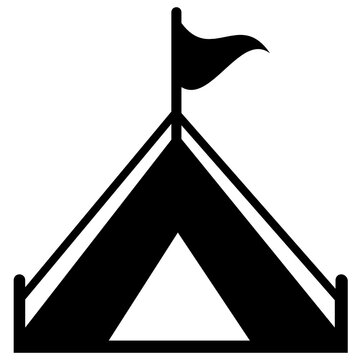 A hut shape fabric with flag on it symbolising base camp icon