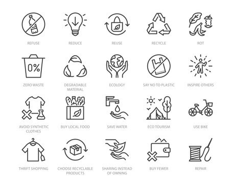 Zero waste lifestyle flat line icons set. Refuse, reduce, reuse, recycle, leaves circle, save water, planet, eco tourism vector illustration. Outline signs of ecology. Pixel perfect. Editable Stroke