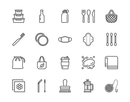 Zero waste products flat line icon set. Reusable bottle, wooden cutlery, metal straw, period pad, face mask vector illustration. Outline signs of sustainable lifestyle. Pixel perfect. Editable Stroke
