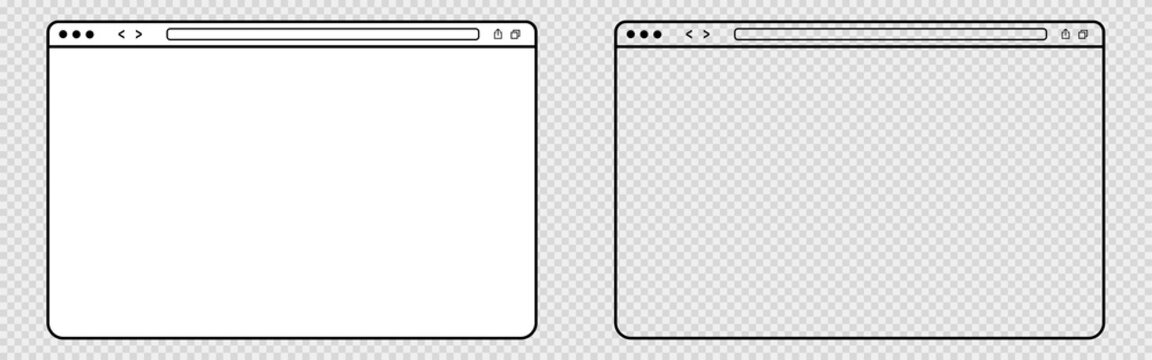 Outline transparent web browser. Isolated blank website page. Computer browser mockup frame on transparent background. Webpage interface with white background. Simple design. Vector EPS 10.