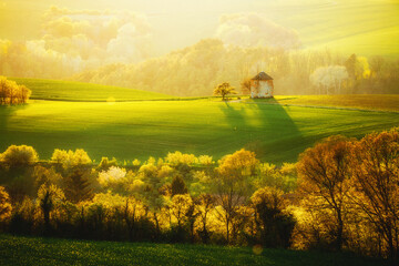 Wall Mural - Idyllic rural landscape with an old mill. Location place of South Moravia, Czech Republic.