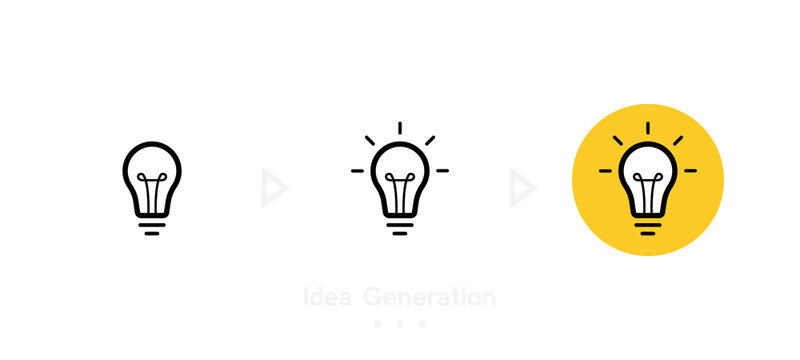 Idea generation concept with three step. Label design with light bulb and rays. Logo design. Vector illustration