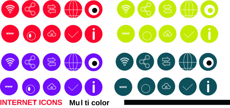 Set of colorful Internet Icons   Multicolor icons