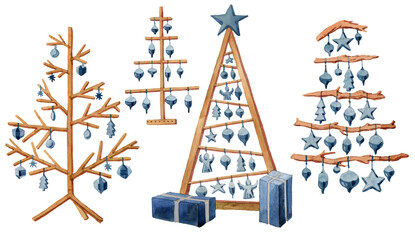 watercolor set, modern wooden Christmas tree and wooden toys, eko Christmas tree, merrychristmas, newyear,