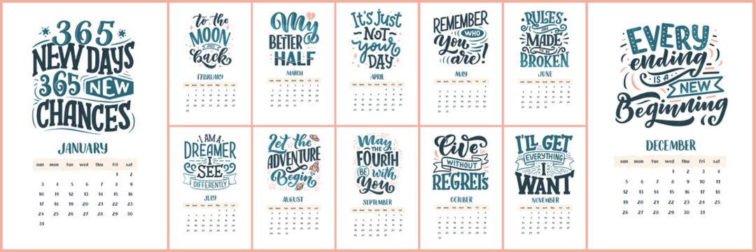 Modern typography lettering compositions for 2021 year calendar with funny motivation quotes. Hand drawn illustrations. Trendy season slogans, vector graphic