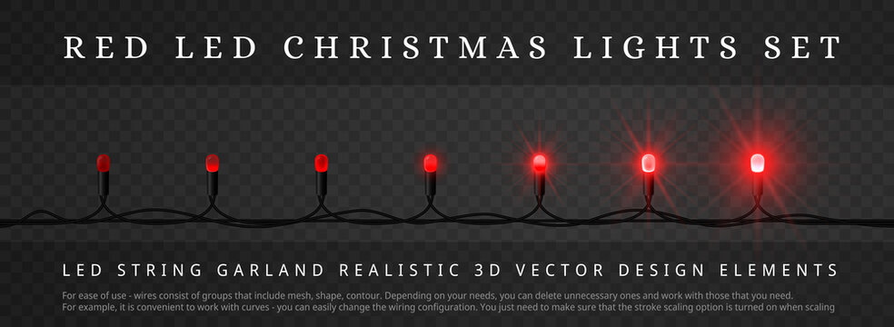 Red LED Christmas lights with different phase of light. Decoration elements for holidays design