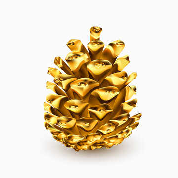 Gold pine cone. Golden christmas decoration. Realistic 3d object isolated on white. Greeting card template design element. Pinecone vector icon, symbol, decor