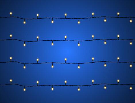 LED Christmas lights. Decorative element for decorating joyful holidays Merry Christmas and Happy New Year