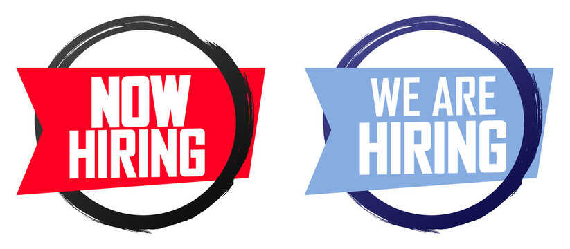 We are Hiring Now banners design template, join our team, vector illustration