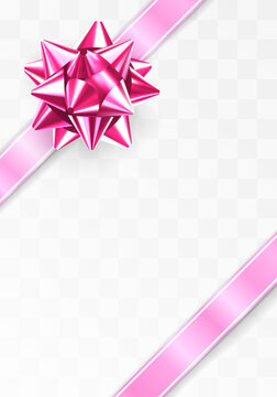 Glossy foil ruby red bowGlowing bow with two pink ribbons isolated on transparent background. Festive decorative element.
