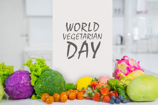 Variety vegetables with world vegetarian day text
