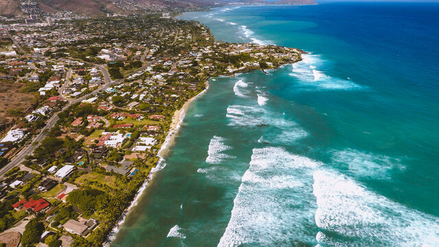 Aerial photography of Kahala, Honolulu coastline, Oahu, Hawaii