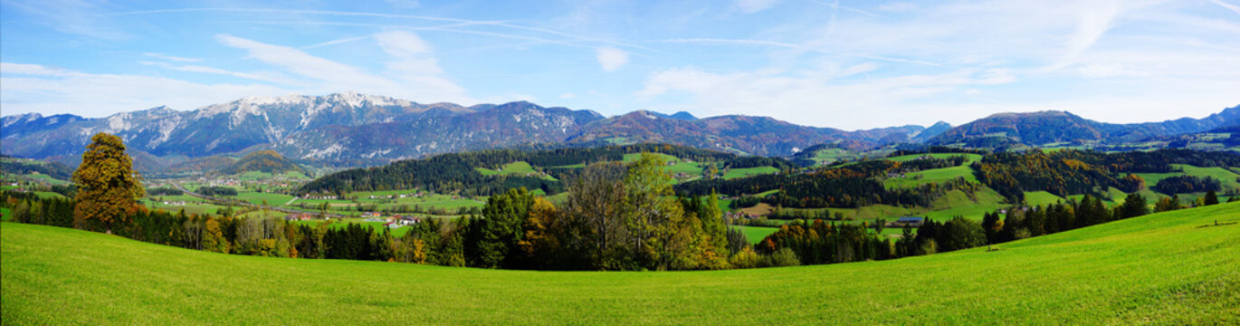 panoramic view of a mountain landscape near windischgarsten, upper austria