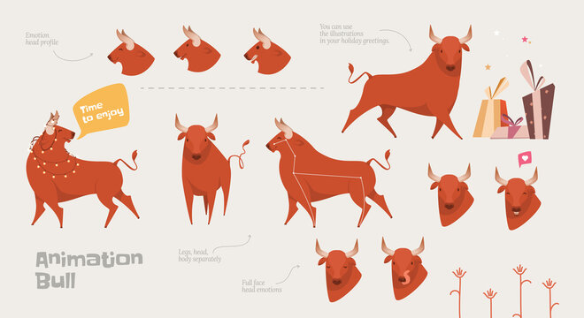 Drawn animation bull for 2021 animations. EPS illustration of an animated bull by 2021