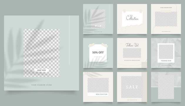 social media template banner fashion sale promotion. fully editable instagram and facebook square post frame puzzle organic sale poster. green paper texture vector background