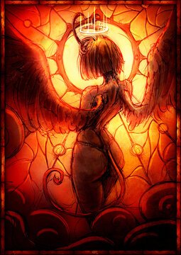 A beautiful demon girl with feathered wings and short horns stands confused. against the background of a round stained glass window. 2D