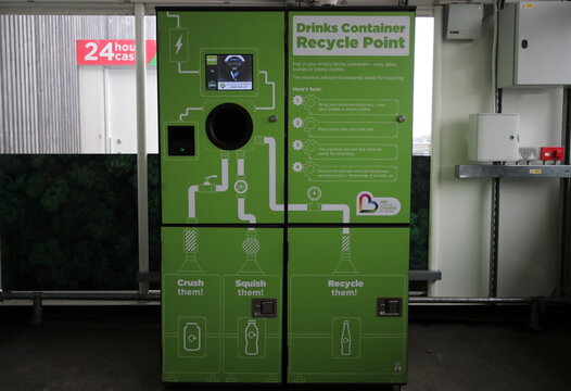 The 'Drinks Container Recycle Point' is seen in the UK supermarket Asda, as the store launches a new sustainability strategy, in Leeds