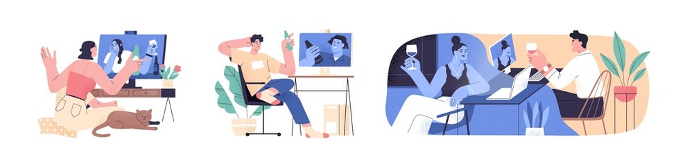 Photo sur Plexiglas Dinosaurs Set of scenes with people videoconferencing and drinking wine or beer together. Friends and couple video call. Men and women meeting online. Distance communication. Flat vector cartoon illustration