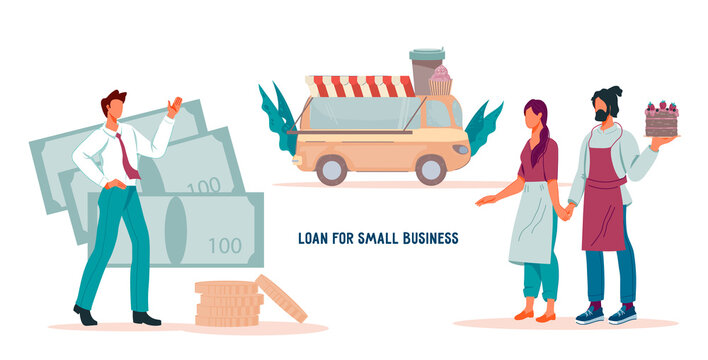 Loan for small business development website banner template with business owners and bank agent. Financial support of small business and entrepreneurship, flat vector illustration for web page.