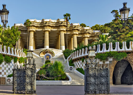 Entrance Park Guell designed by Antoni Gaudi in Barcelona, Spain.