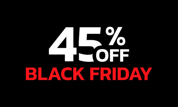 45 percent price off icon or label. Black Friday Sale banner. Discount badge design. Vector illustration.