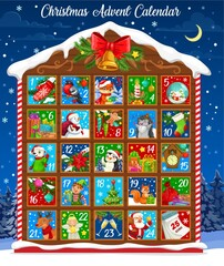 Fototapeta Christmas advent calendar vector design of winter holiday countdown template with Xmas bell and wooden house. Christmas tree, Santa and snowman, gifts, elf and animals, reindeer, poinsettia and sock obraz