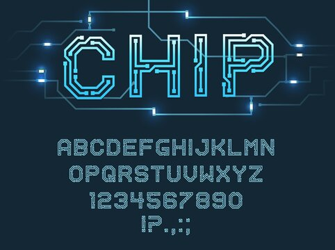 Chip type font, vector alphabet letters, digits and punctuation marks Blue microcircuit glowing abc uppercase characters, fluorescent electric futuristic style signs set isolated on dark background