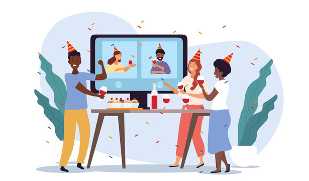Online party, birthday, holiday celebrating concept. Multiracial friends drinking wine together during self isolation. Video chat or video streaming. Flat cartoon vector illustration.