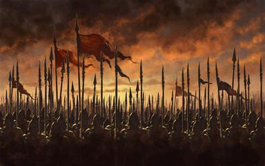 Photo sur Plexiglas Dinosaurs Medieval army battle - digital illustration