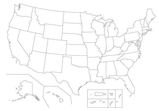 Outline United States Of America map. US background template. Map of America with separated countries and interstate borders. All states and regions are named in the layer panel