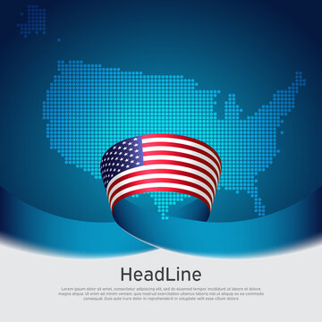 USA flag background. Mosaic map, flag of usa on a blue white background. National american poster. Vector design. State american patriotic banner, cover, business flyer