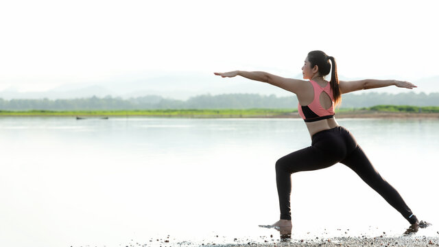 Yoga women lifestyle exercise and pose for healthy life. Young girl or people pose balance body vital zen and meditation for workout sunrise morning nature background.