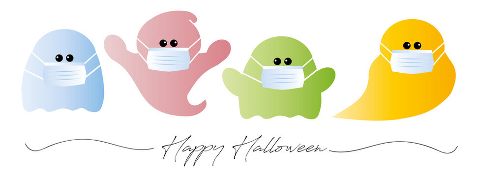 cute corona halloween ghost ghosts with face masks