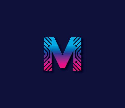 M Alphabet Technology Logo Design Concept
