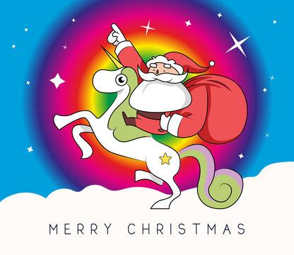 Einhorn Weihnachtsmann Christmas Bunt Weihnachtskarte Vektor Comic Illustration Santa Claus Frohe Weihnachten