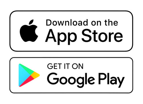 Download on the App Store and Get it on Google Play white button icons