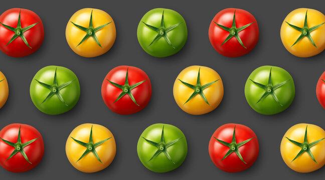 Arrière plan gris foncé avec tomates vectorielles