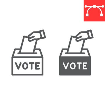 Hand voting ballot box line and glyph icon, election and vote, vote box sign vector graphics, editable stroke linear icon, eps 10.