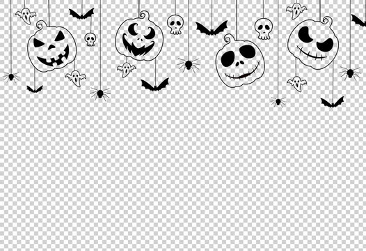 Halloween party  banner  with scary pumpkin face , bats, spiders,  hanging from top on on png or transparent background, space for text, sale template ,website, poster,  vector illustration