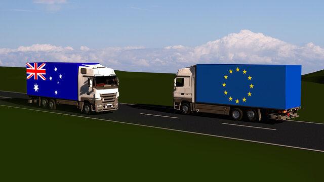 Trade between Australia and EU. Free trade agreement . FTA . 3d-illustration