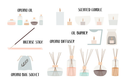Aromatherapy. Aroma diffuser, essential oil, aromatic bag sachet, incense stick, oil burner, scented candle. Vector flat cartoon illustration