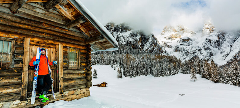 Skiing with amazing panorama of Pale di Sant Martino di Castrozza, Dolomites mountain, Italy
