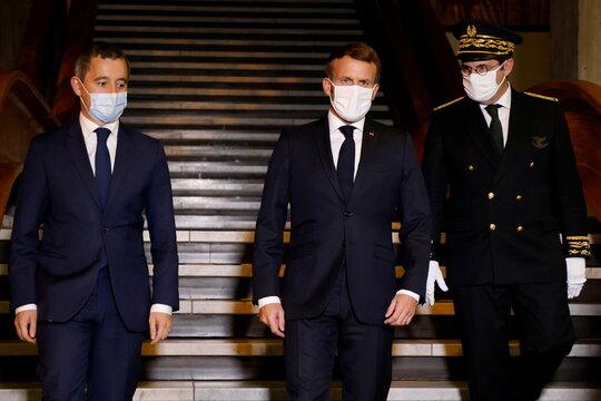 French President Macron delivers speech in Bobigny
