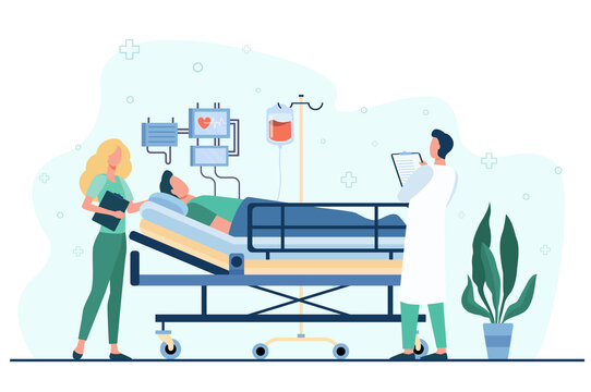 Doctor and nurse giving medical care to patient in bed isolated flat vector illustration. Cartoon medicine specialists giving support for man. Intensive therapy and healthcare concept