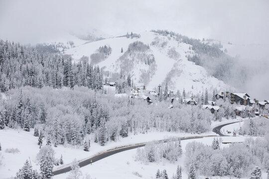 Snow at Deer Valley, Utah, near Salt Lake City during ski season..