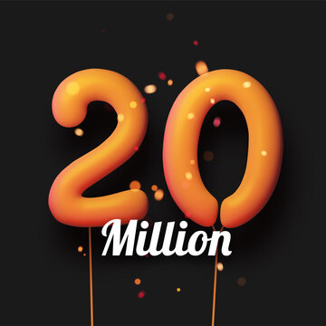 20 million sign yellow balloons with threads on black background.