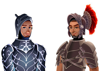 Couple of knights. Vector fantasy isolated characters for games and app.